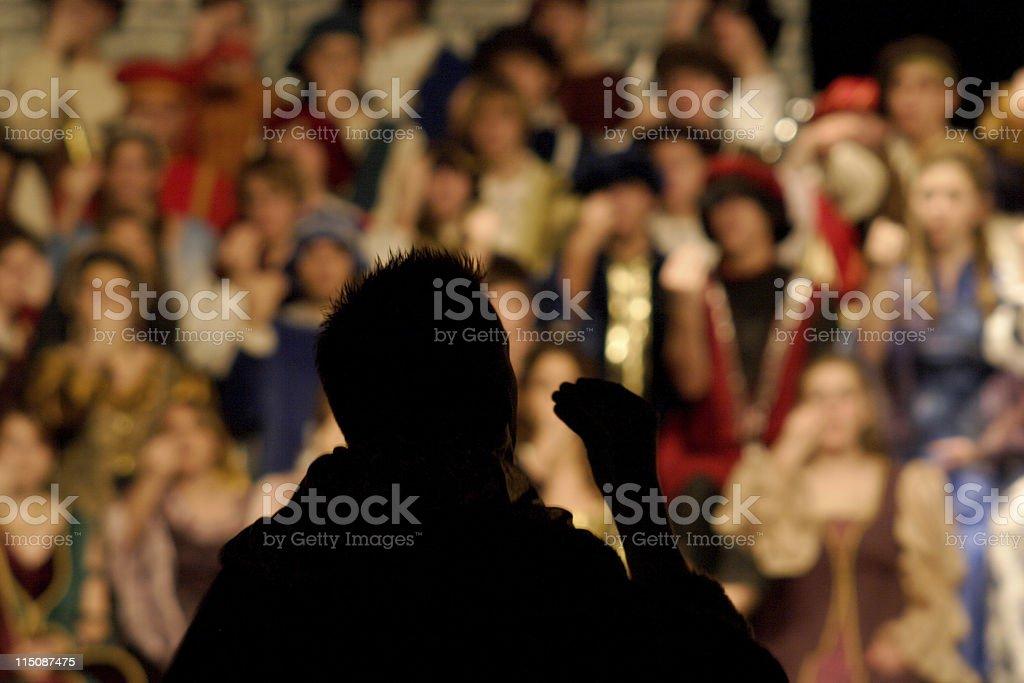 performance scenes -Renaissance musical director silhouette stock photo