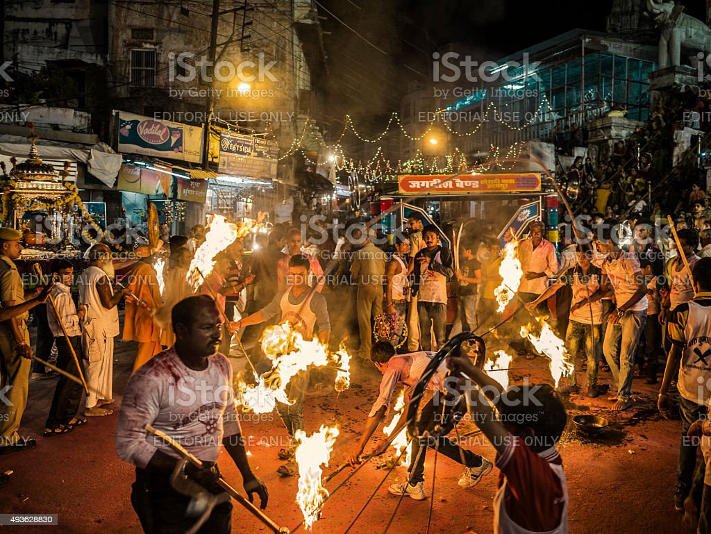 Performance with fire in Udaipur Rajasthan India stock photo
