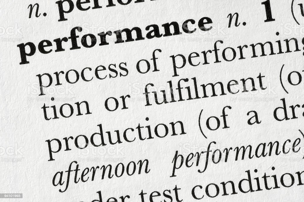 Performance word dictionary definition royalty-free stock photo