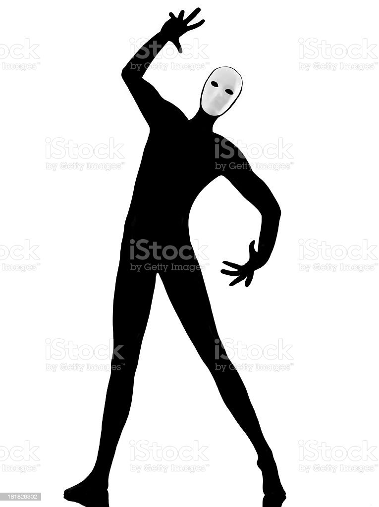 performer mime with mask gesturing stock photo