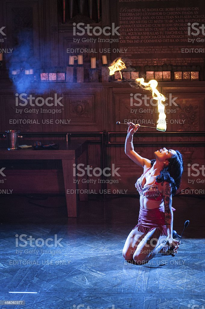 Performer playing with fire stock photo