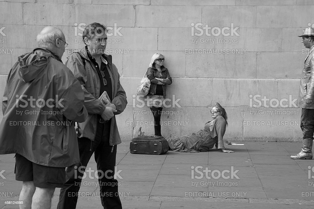 Performers and tourists at Trafalgar Square stock photo