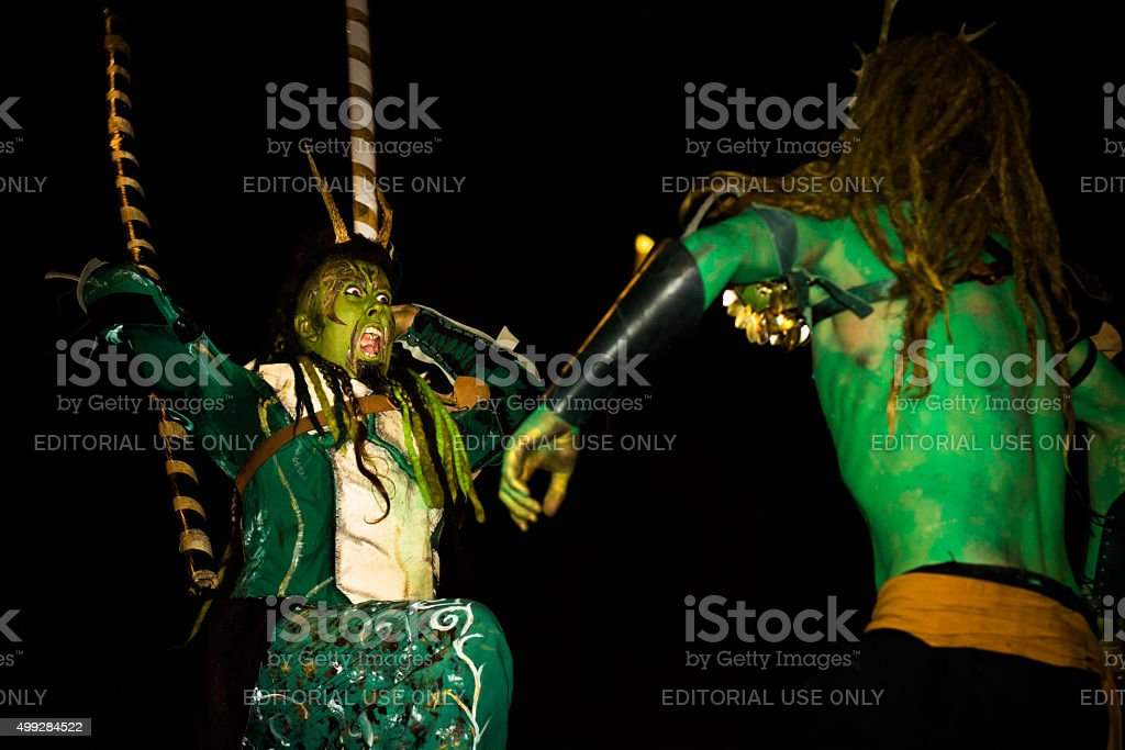 Performers at the Samhuinn Fire Festival, Edinburgh stock photo