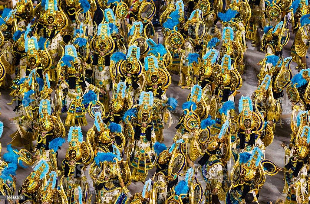 Performers in Sambadrome Carnival Parade, Rio de Janeiro stock photo