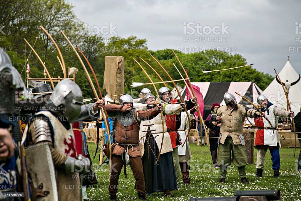 Performers on medieval market in Denmark stock photo