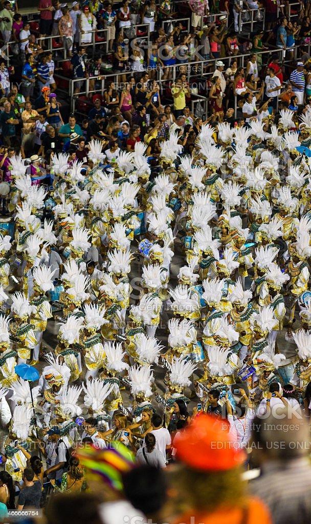 Performers walking in Sambadrome Carnival Parade, Rio de Janeiro stock photo