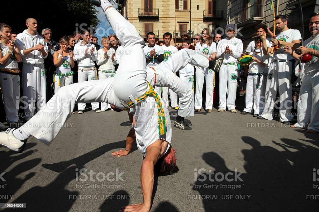 Performing Capoeira royalty-free stock photo