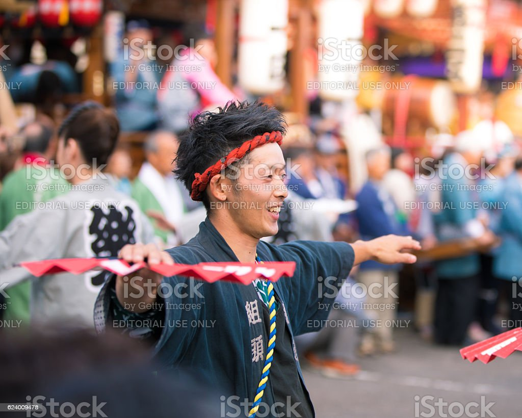 Performing local dace - Yachimata Shrine Festival 2016 stock photo