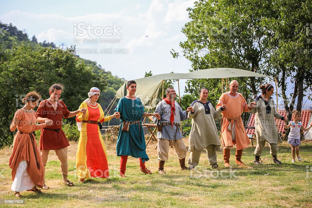 Performing medieval dance stock photo