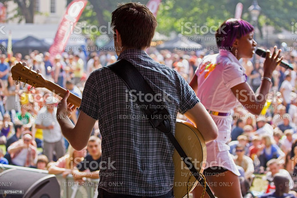 Performing on stage at the Bristol Harbour Festival UK stock photo
