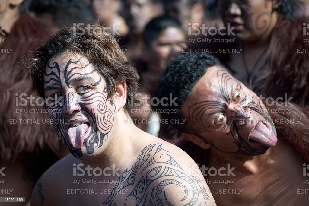 Performing the Haka stock photo