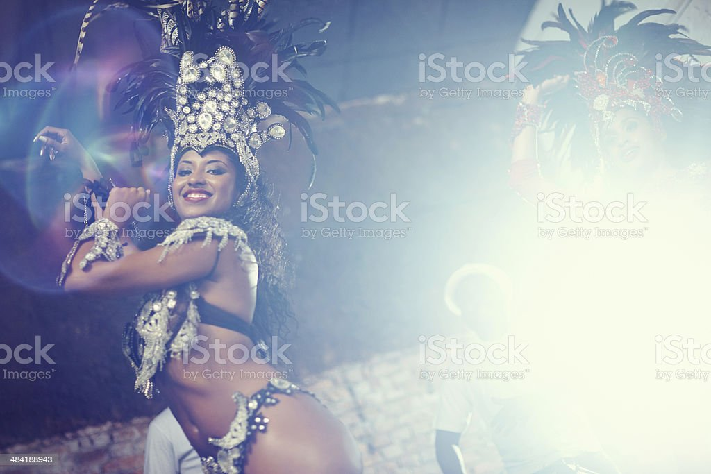 Performing under lights stock photo