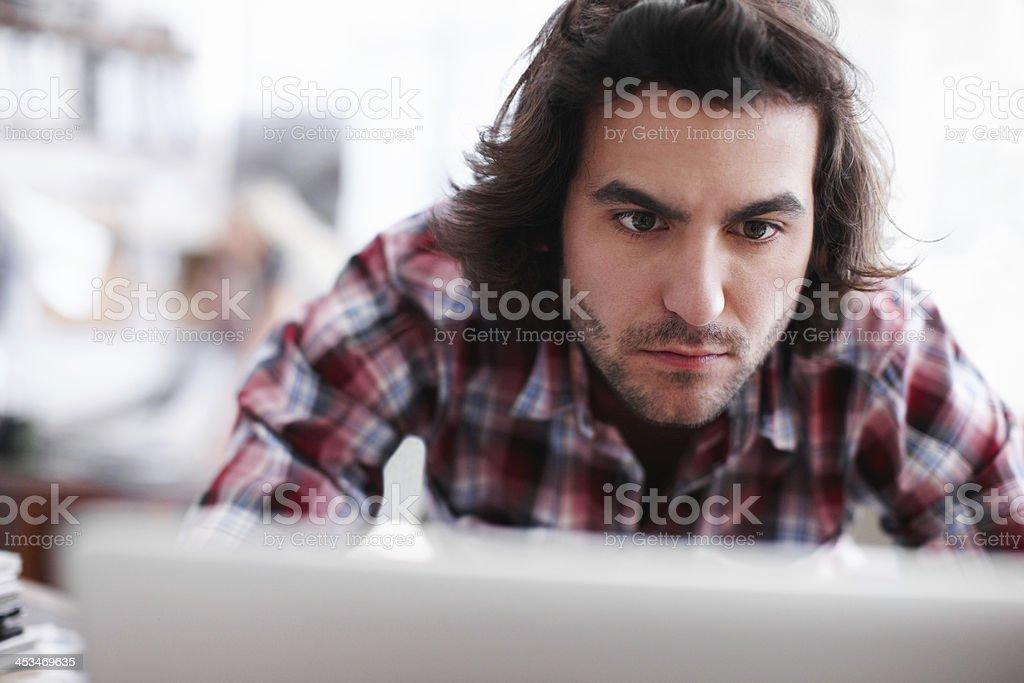 Performing work that takes plenty of focus stock photo