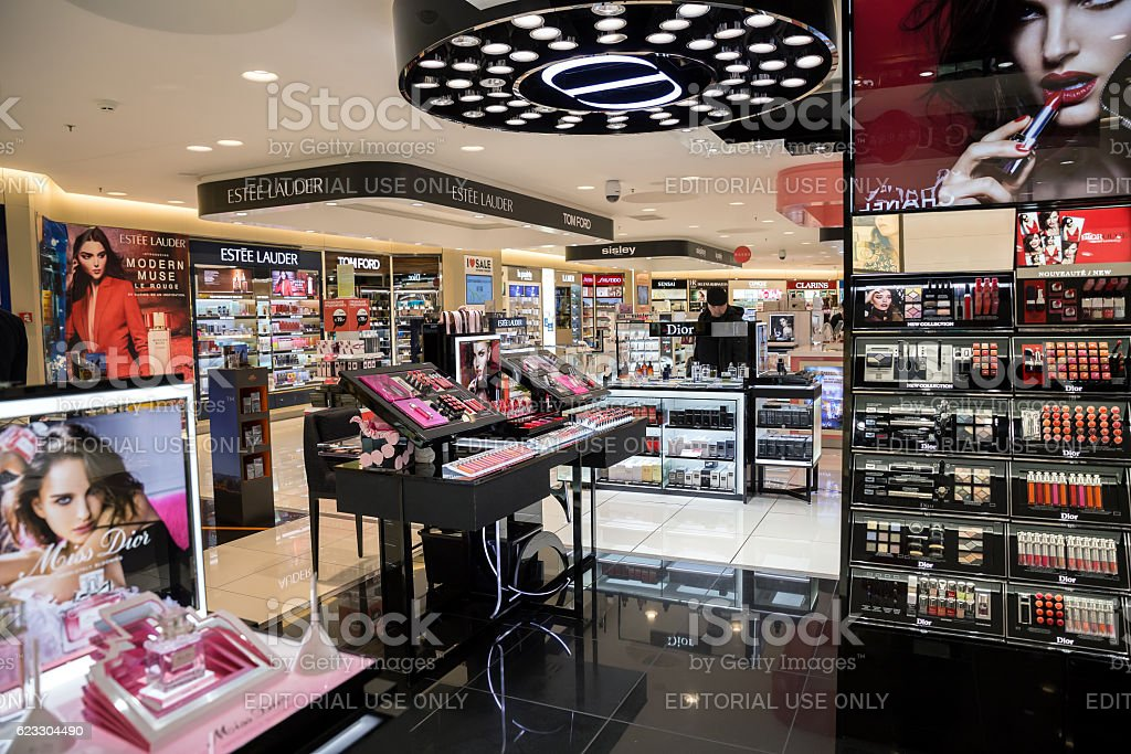 Perfume and cosmetic shop stock photo