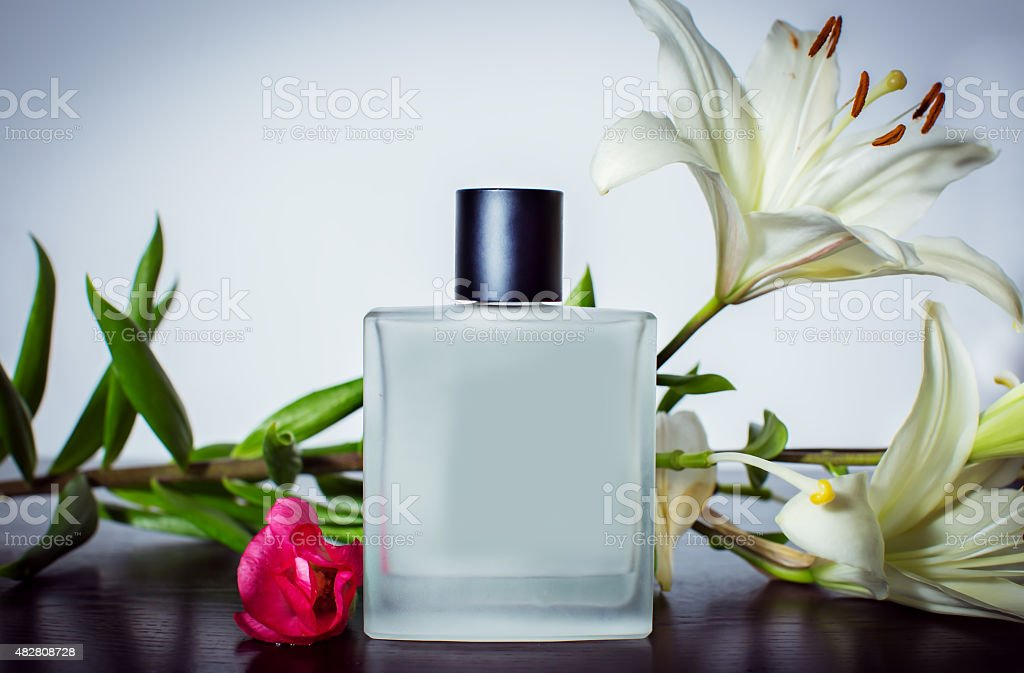 Perfume and flowers of orchid stock photo