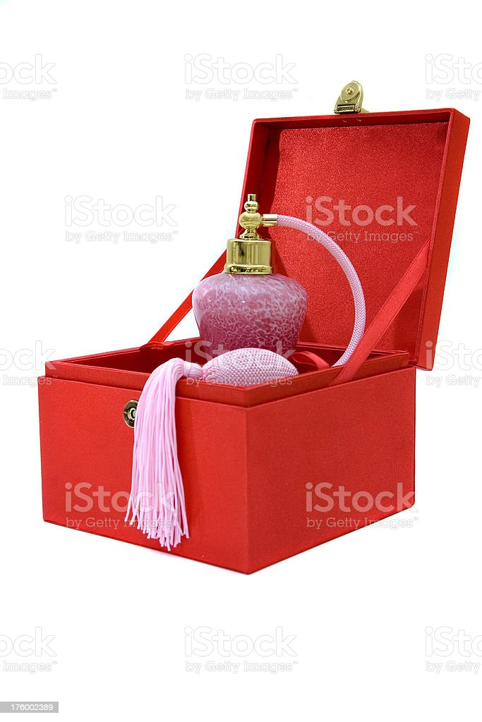 Perfume bottle in red box royalty-free stock photo