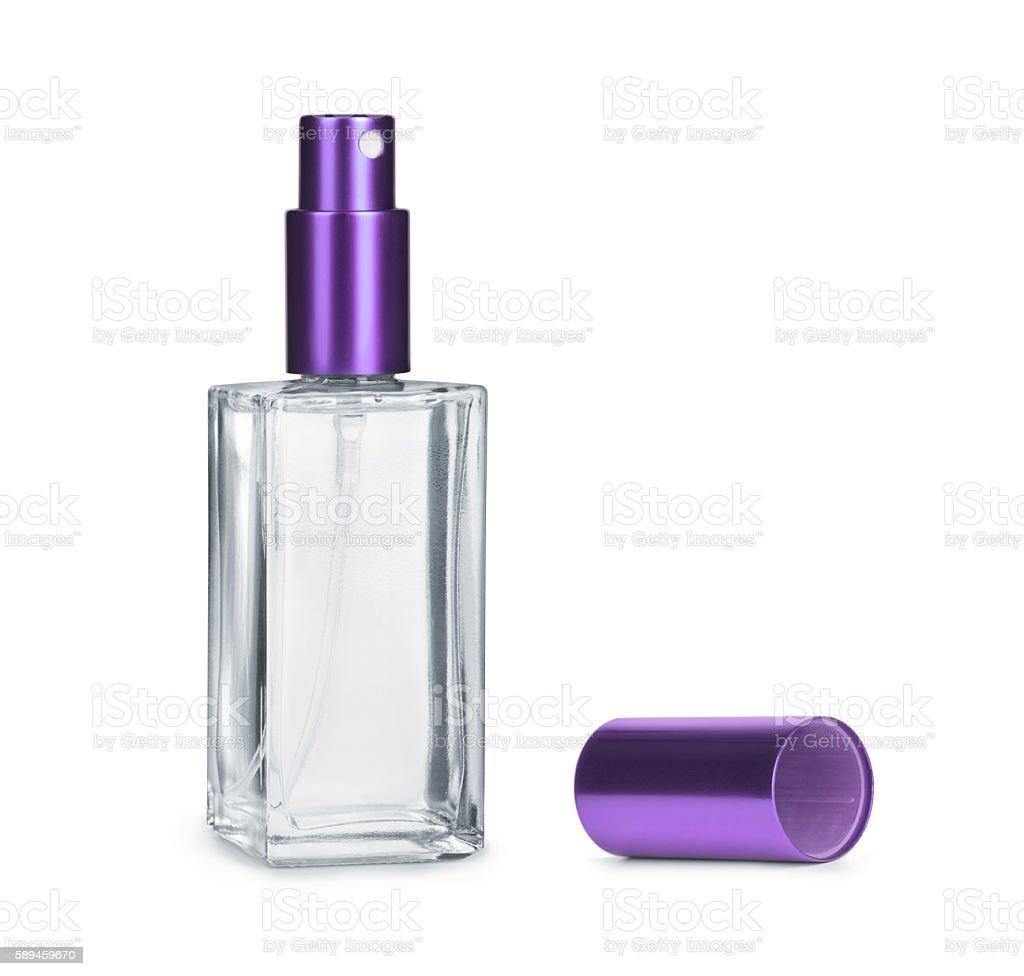 Perfume bottle isolated on white background stock photo