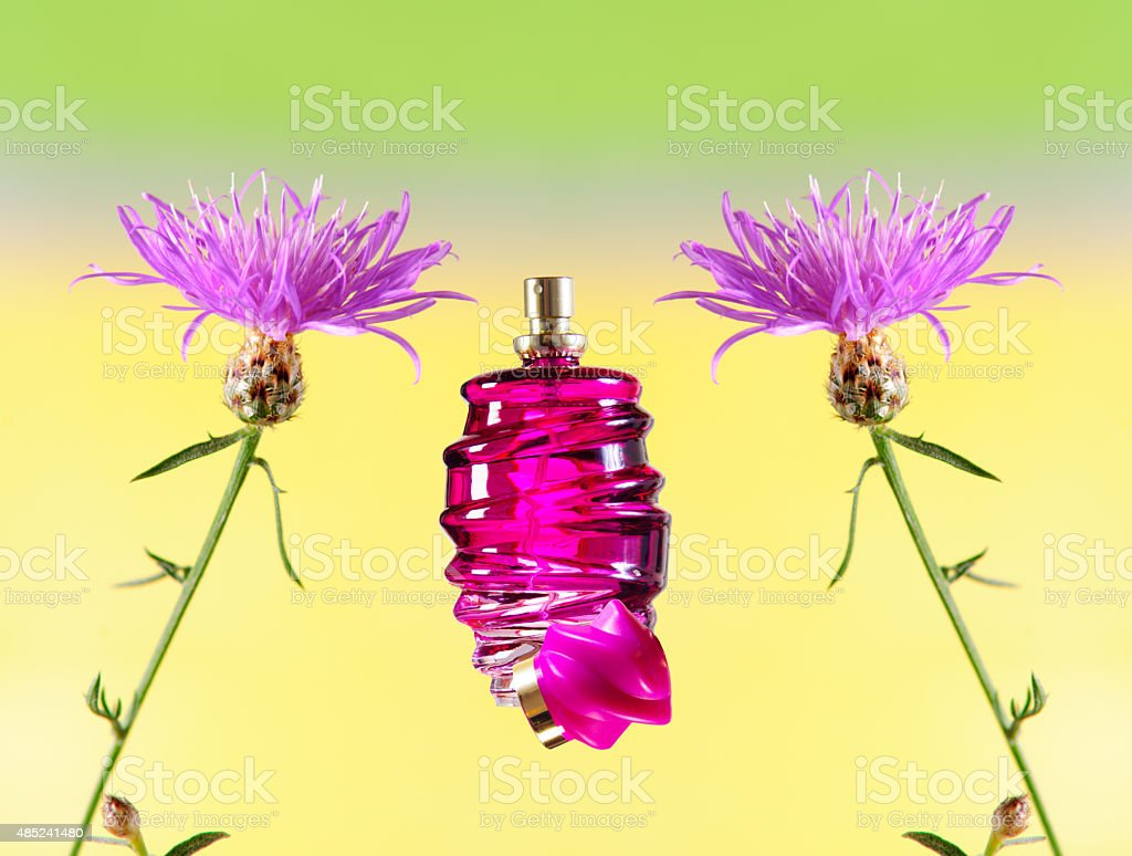 perfume bottle, isolated with flowers stock photo