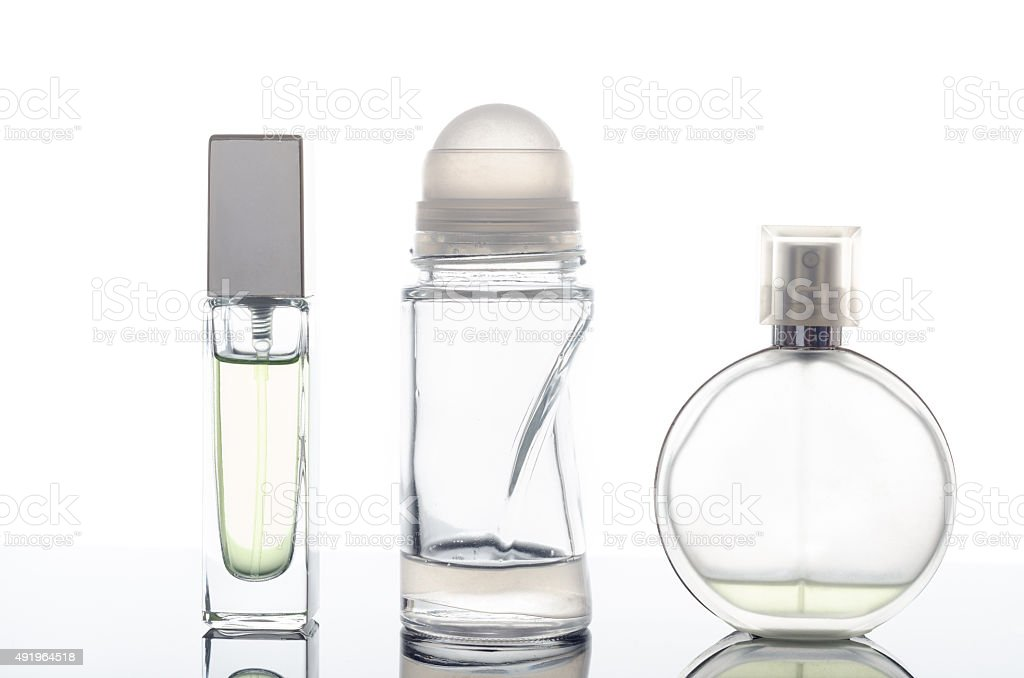 perfume bottle on a white background stock photo
