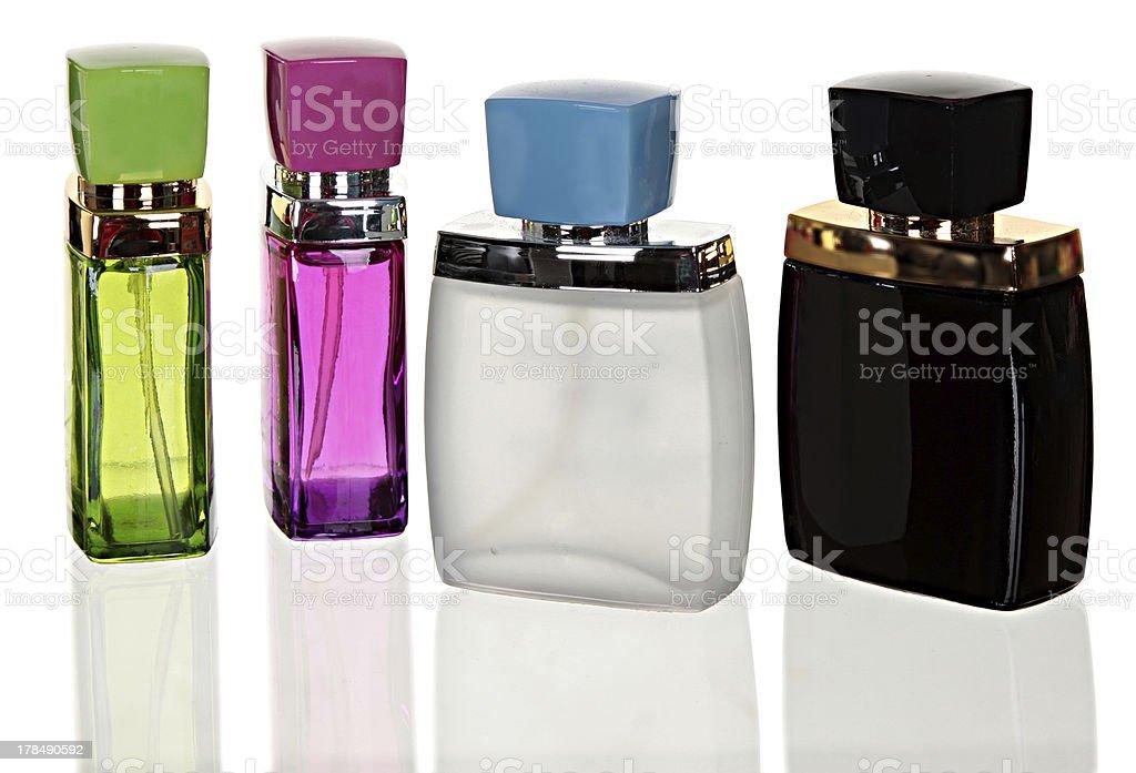 Perfume bottle on the white background royalty-free stock photo