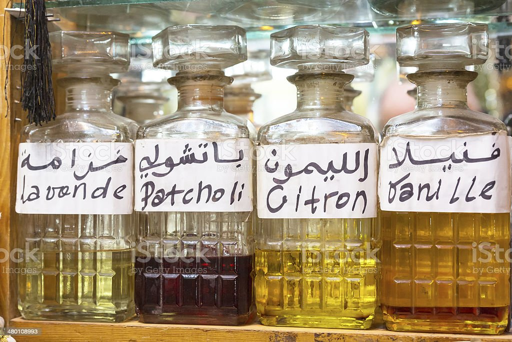 Perfume for sale on a Moroccan market, Africa stock photo