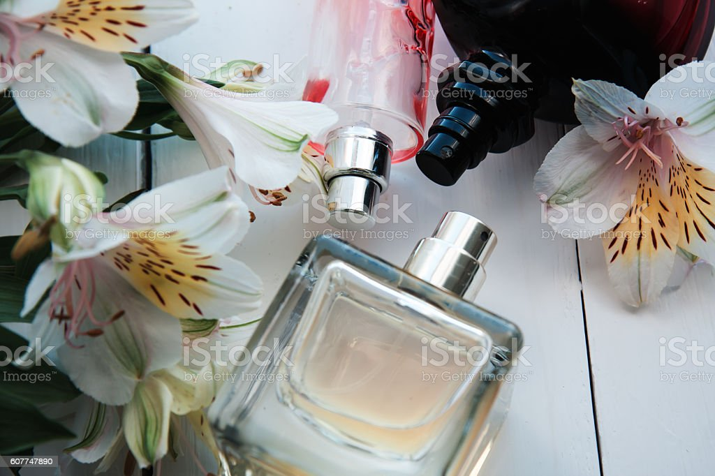 perfume with flowers stock photo