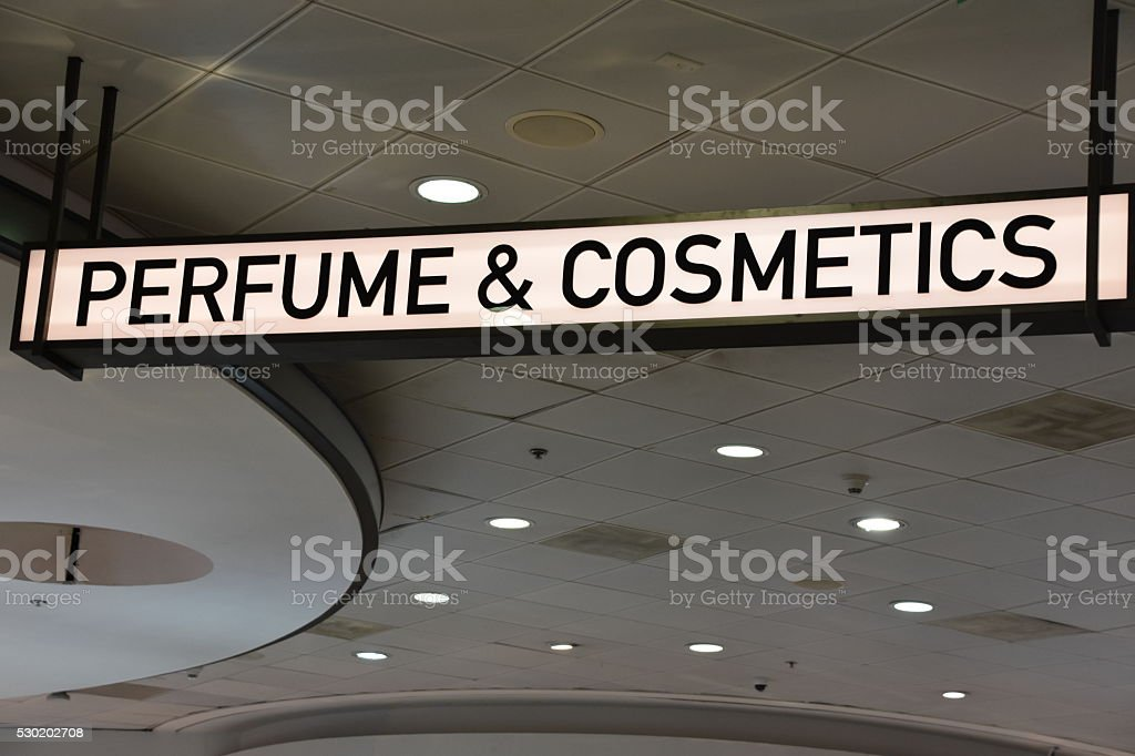 Perfumes and cosmetics sign stock photo