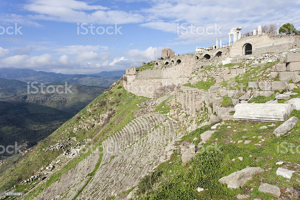 Pergamon Ruins In Bergama, Turkey stock photo