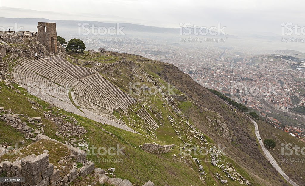 Pergamon Temple of Dionysos with ancient theater stock photo