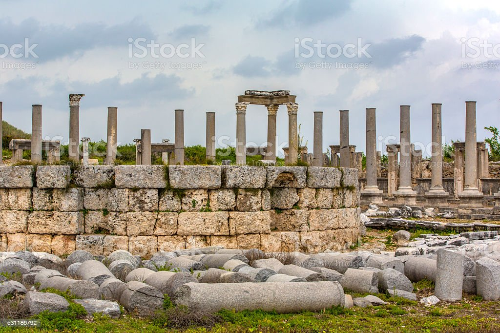Perge Ancient City stock photo