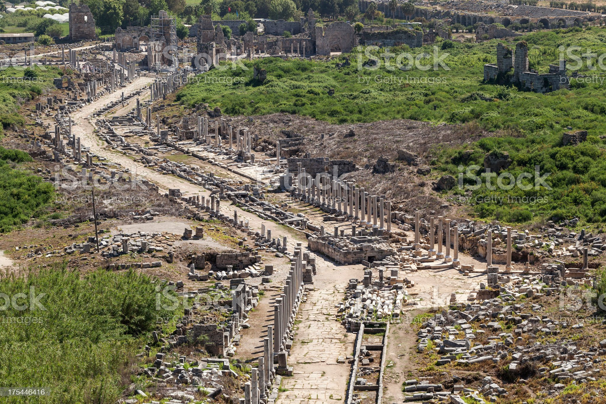 Perge, Overview of main street royalty-free stock photo