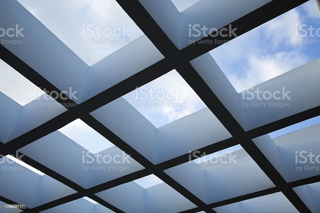 Pergola and Cloudy Sky royalty-free stock photo