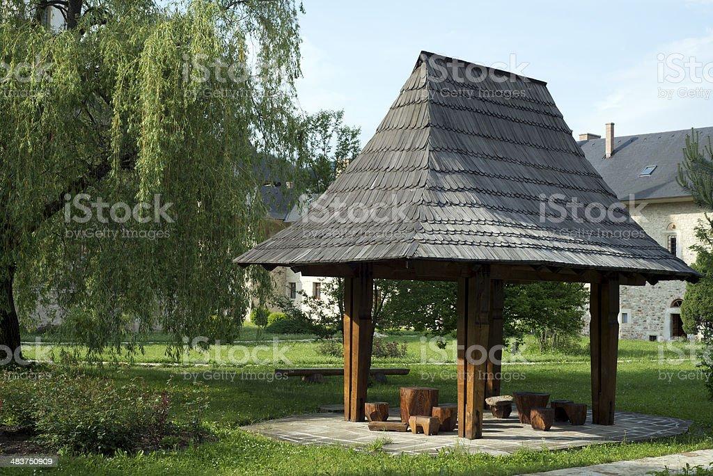 Pergola at Sucevita monastery royalty-free stock photo