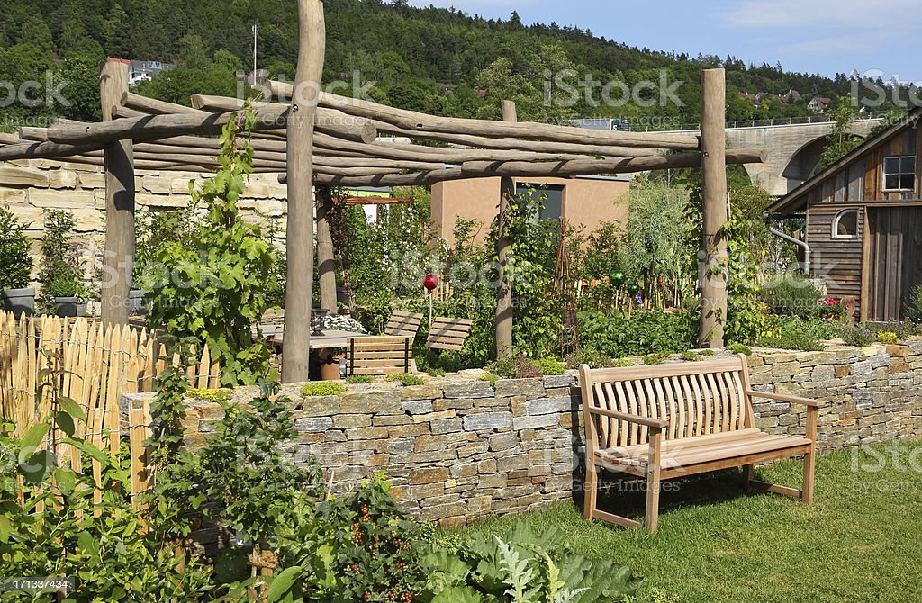 Pergola in a vegetable garden stock photo