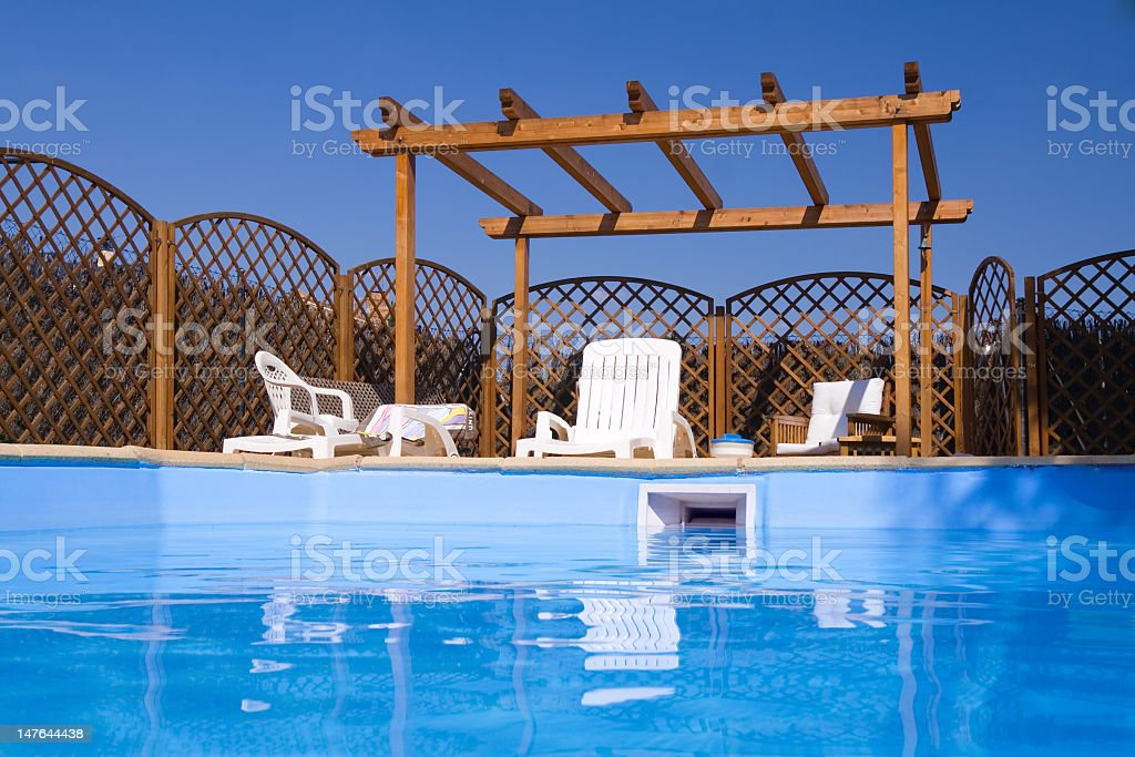Pergola seen from the Pool stock photo