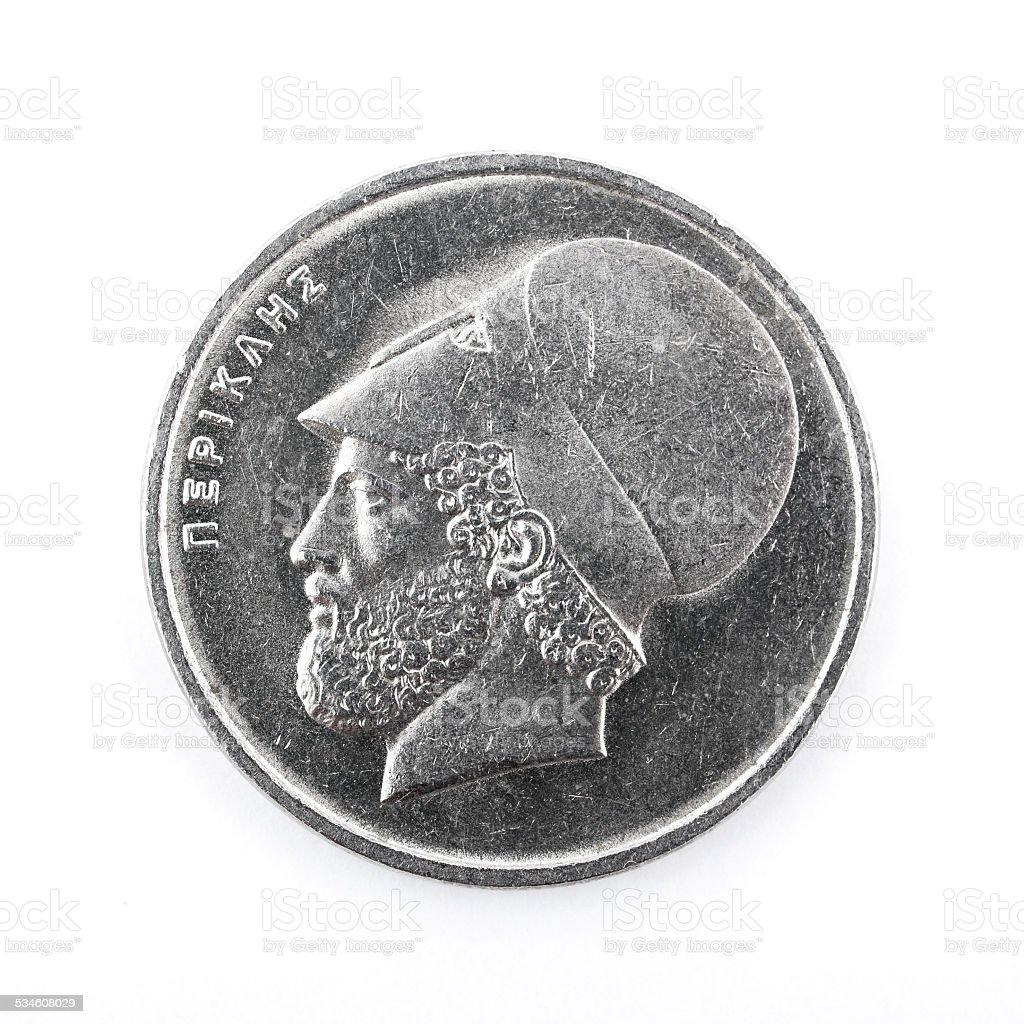 Pericles, ancient Greek leader and statesman, on 20 drachmas coin stock photo