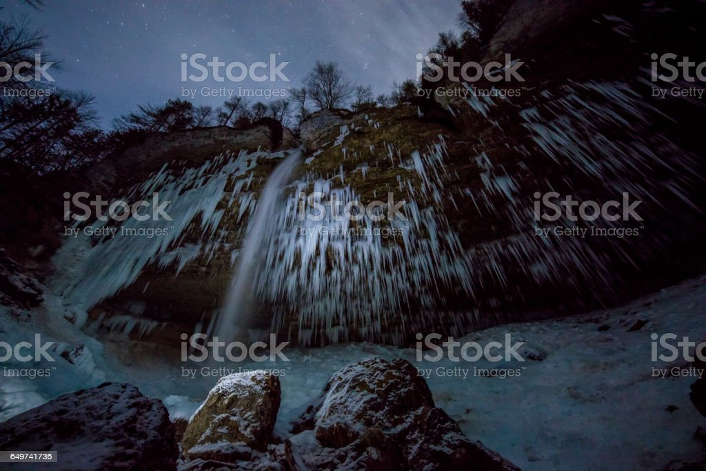 Pericnik Falls surrounded by icicles at Slovenia stock photo