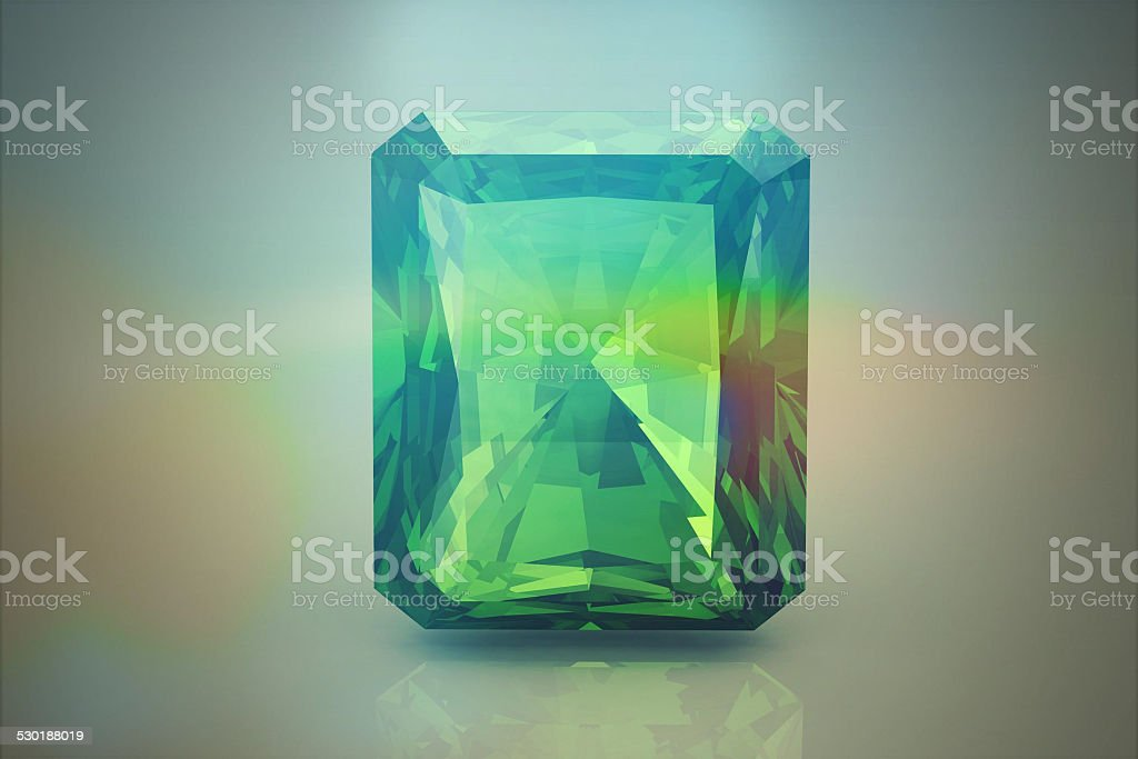 Peridot gem  on white background (high resolution 3D image) stock photo