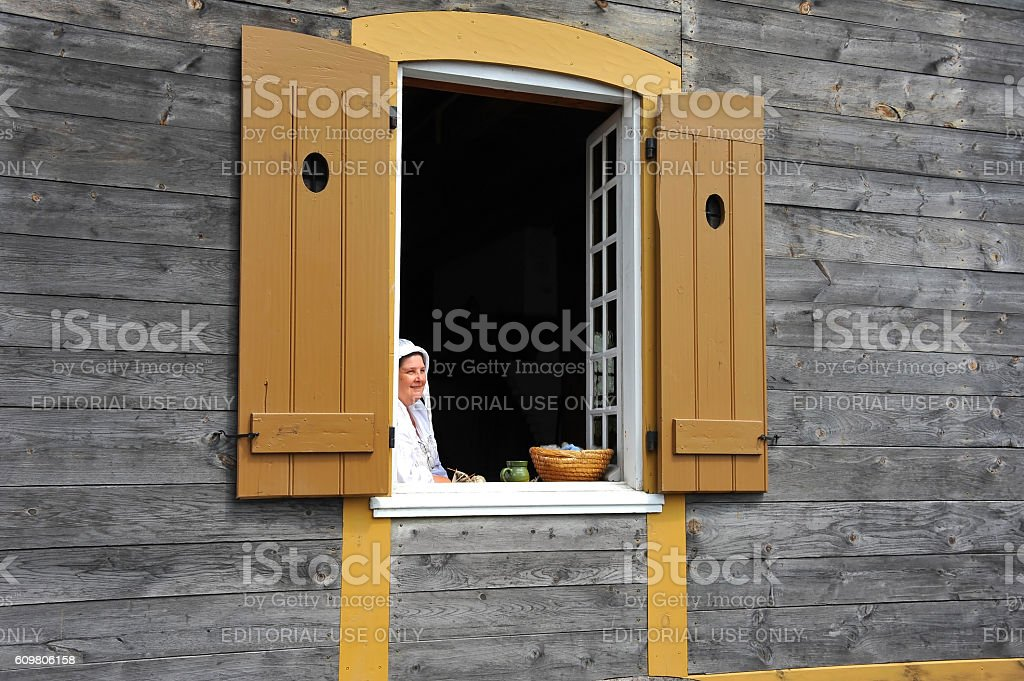 Period actor at Fortress of Louisbourg stock photo