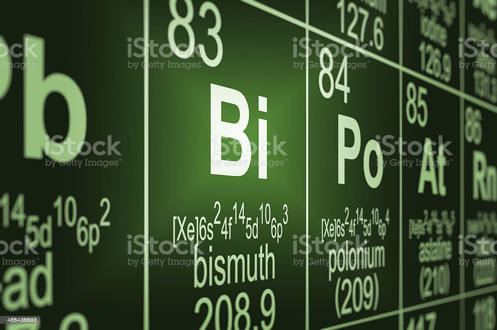 Periodic Table Bismuth stock photo