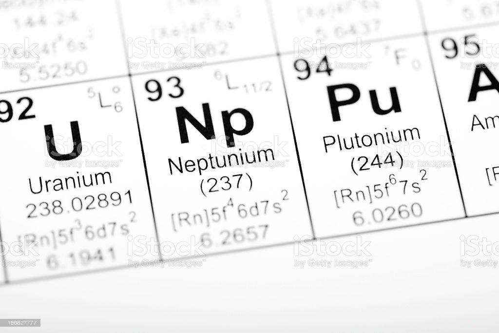 Periodic Table Element Neptunium stock photo