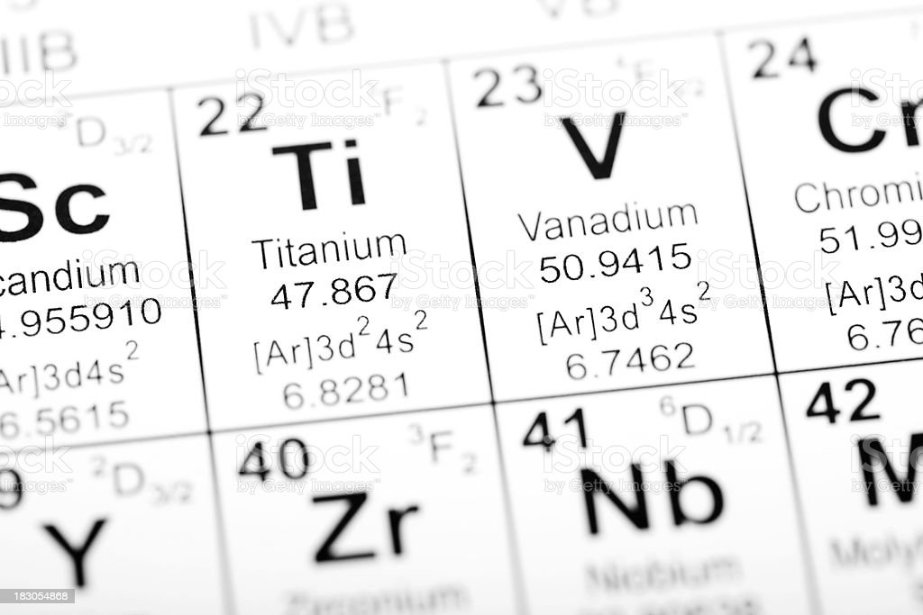 Periodic Table Element Titanium stock photo