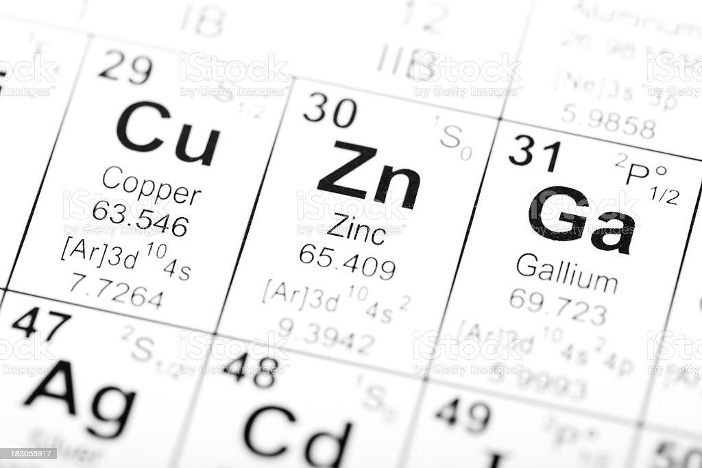 Periodic Table Element Zinc stock photo