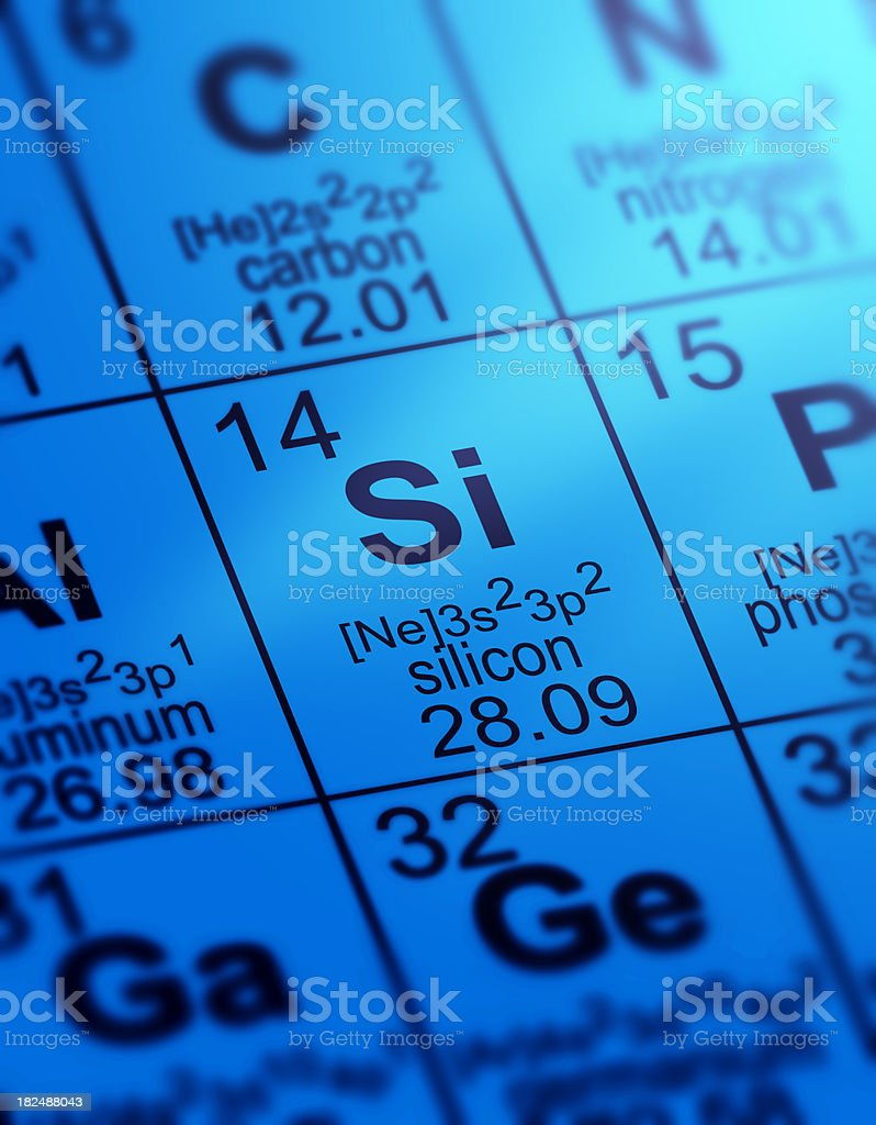 Periodic Table Silicon stock photo