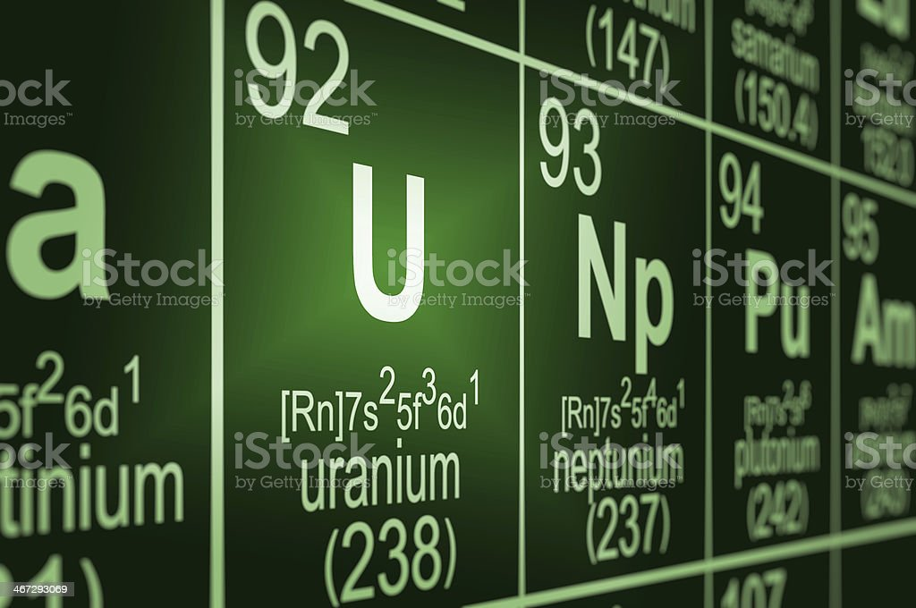 Periodic Table Uranium stock photo