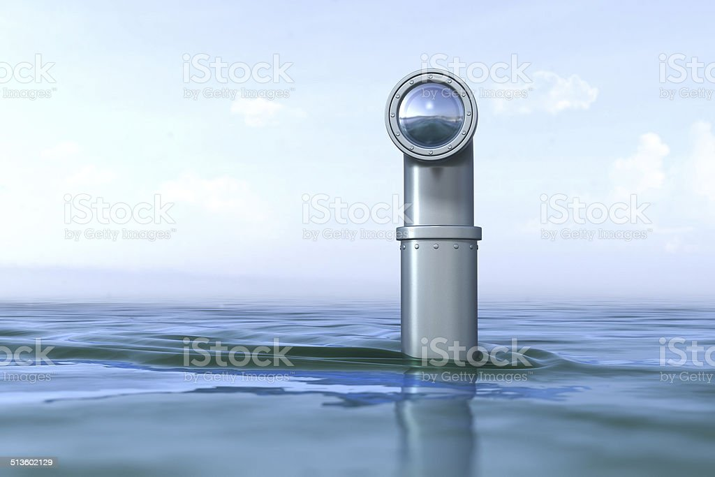 Periscope above the water stock photo