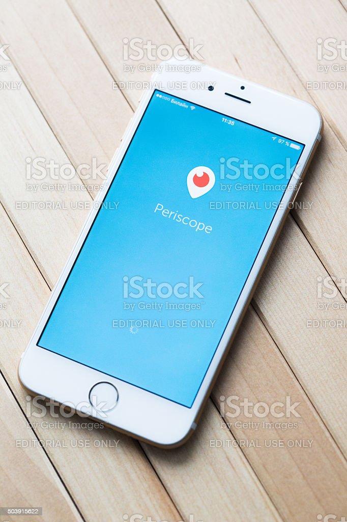 Periscope app on iPhone 6 stock photo