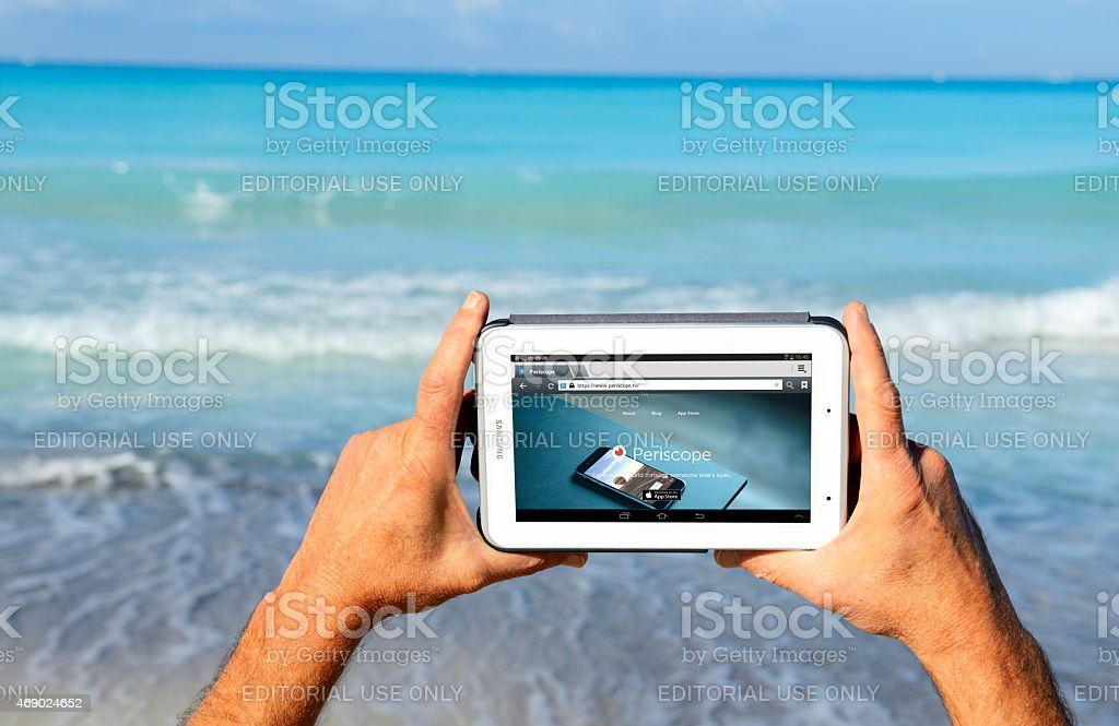 Periscope App on tablet stock photo