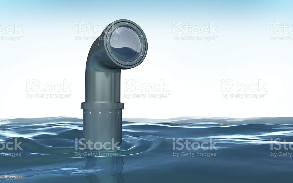 Periscope emerging from blue water stock photo