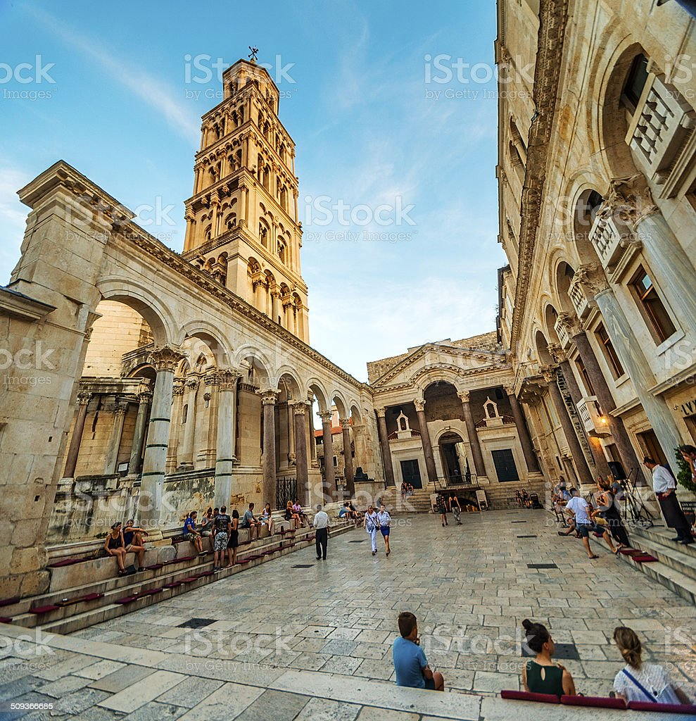 Peristil - town square in front of  st.Duje Cathedral, Split stock photo